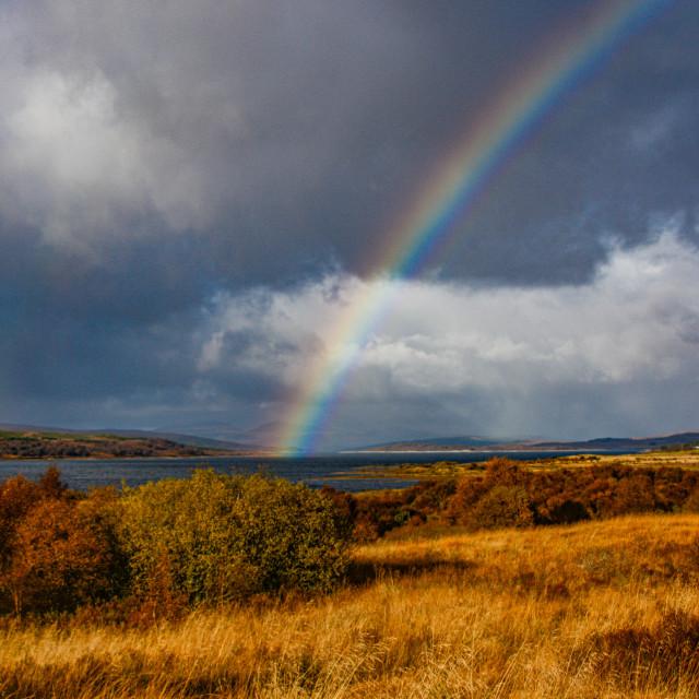 """""""Rainbow over Allt Ceann Lochan"""" stock image"""