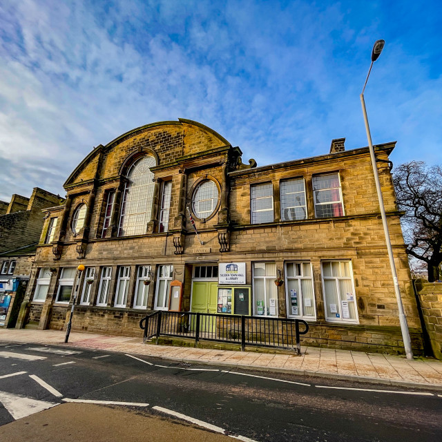 """""""Silsden Town Hall and Library, Silsden, Yorkshire, England, UK."""" stock image"""