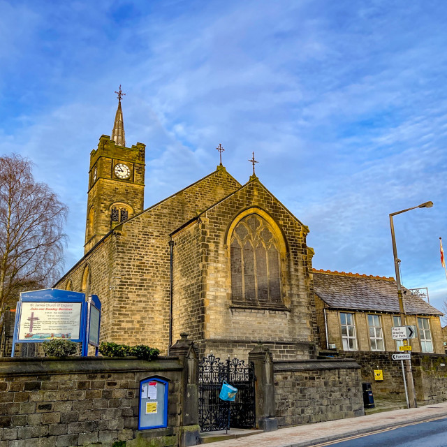 """Silsden, St James, Church of England, Kirkgate, Silsden, Yorkshire, England, UK"" stock image"