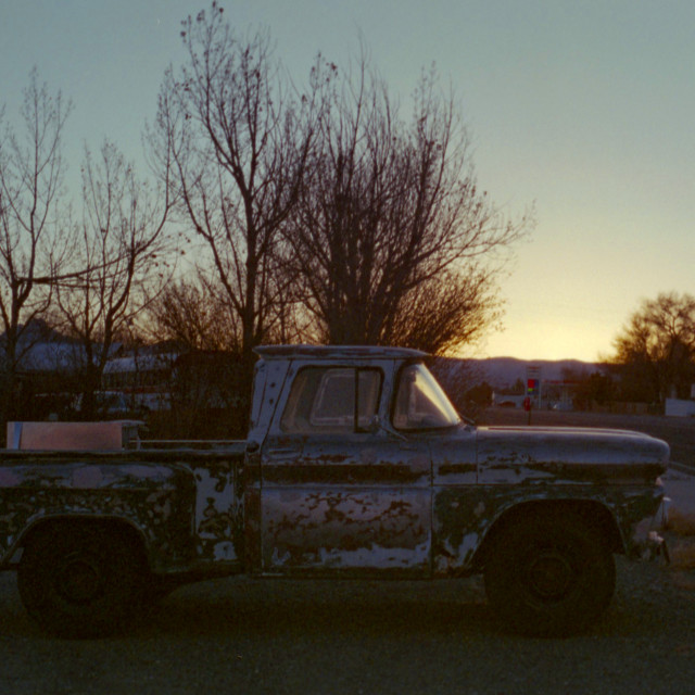 """""""Old truck at sunset"""" stock image"""