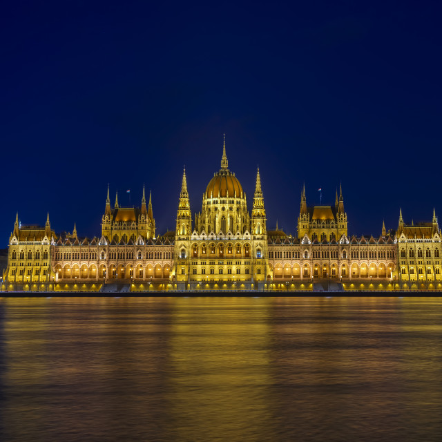"""Hungarian parliament at night"" stock image"