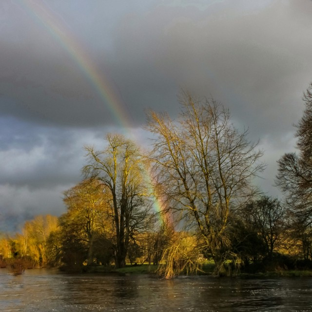 """""""Rainbow over the Nore"""" stock image"""