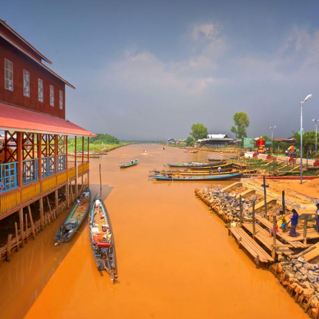 """""""Boathouse of the Phaung Daw Oo Pagoda, Myanmar"""" stock image"""