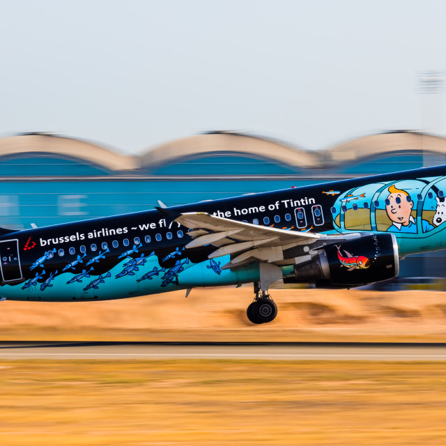 """""""Airbus A320 Brussels Airlines (Rackham livery) OO-SNB departure at Alicante Airport."""" stock image"""