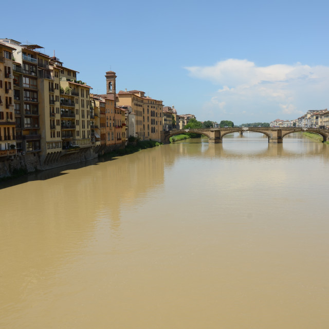 """""""Arno riverfront landscape in Florence, Italy"""" stock image"""