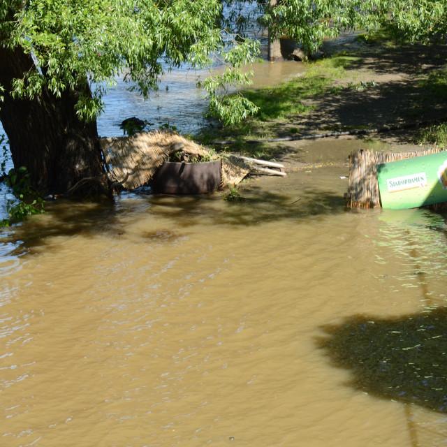 """""""Vltava River flooded in Prague, Czechia (2013)"""" stock image"""