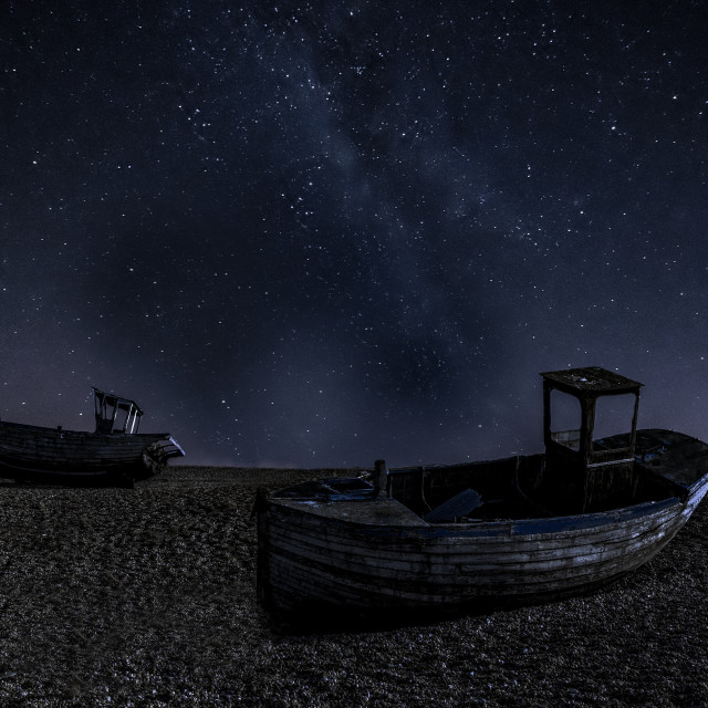 """Milky way over boats at Dungeness."" stock image"