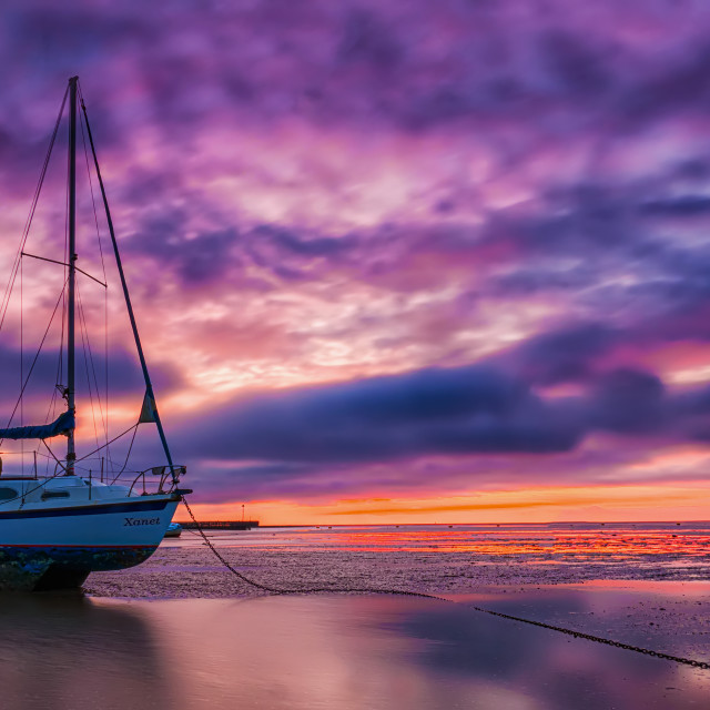 """Yacht at Sunrise"" stock image"