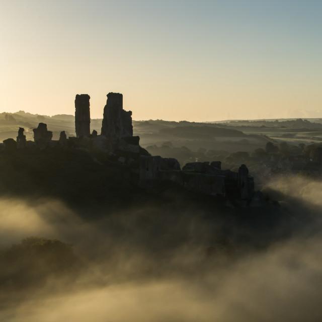 """Corfe Castle on a Misty Morning"" stock image"