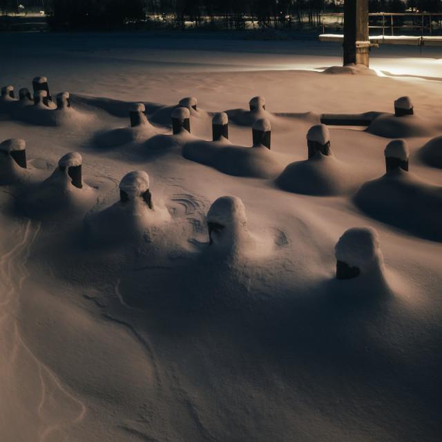 """Hidden Under Snow I (Poles)"" stock image"