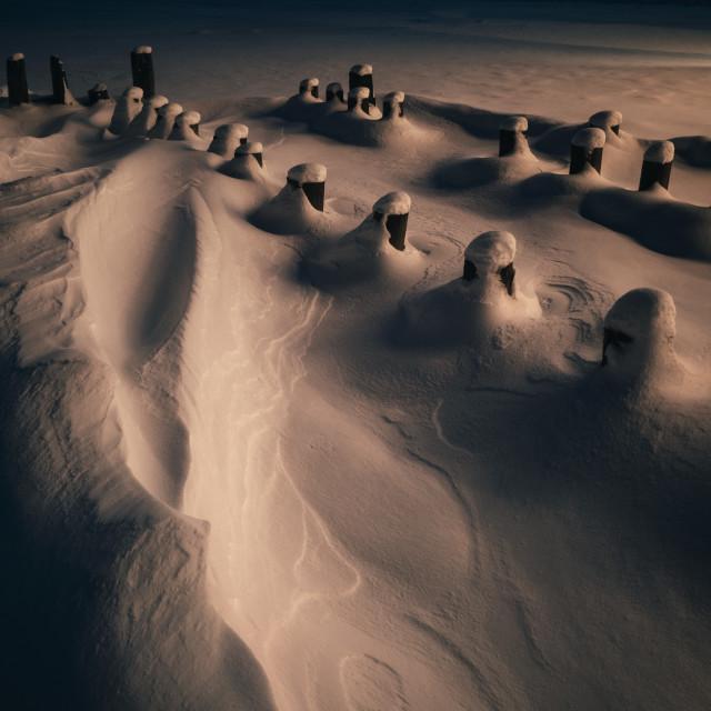 """""""Hidden Under Snow V (Poles)"""" stock image"""