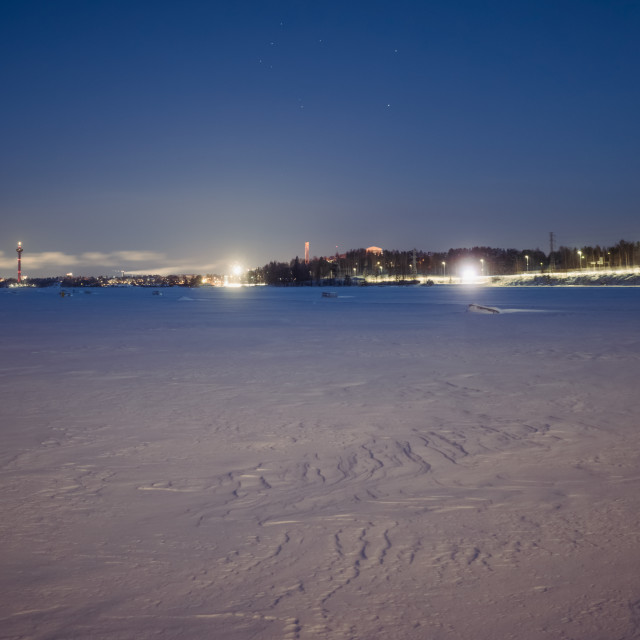 """""""City Lights I (Lake Näsijärvi)"""" stock image"""