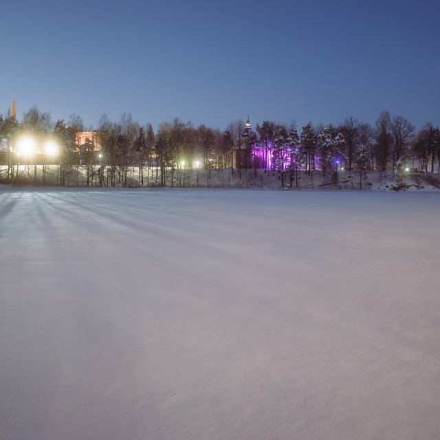 """City Lights IV (Lielahti Mansion)"" stock image"