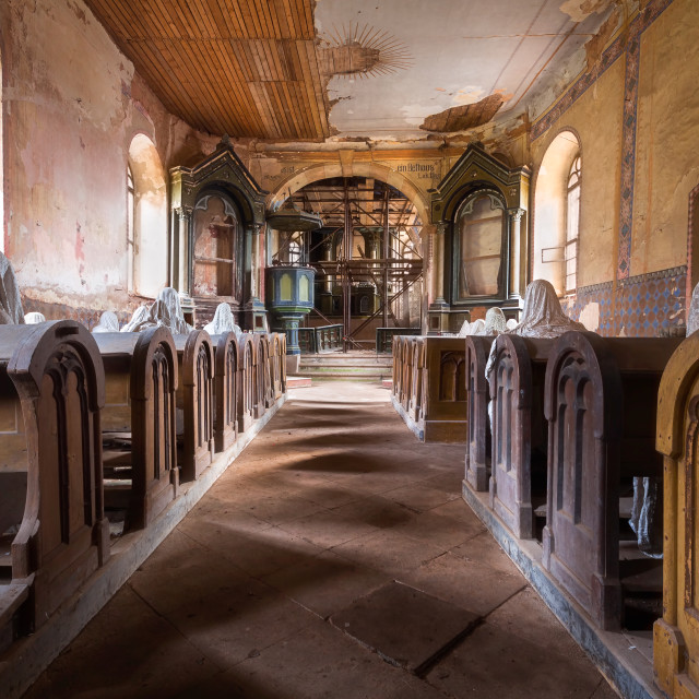 """""""Ghostly Figures in Abandoned Church"""" stock image"""