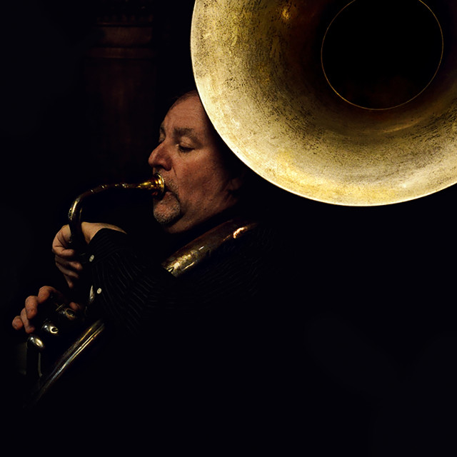 """Jaszz band sousaphone player"" stock image"
