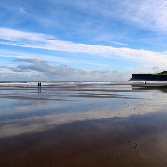 """""""Marske beach at low-tide, looking towards Saltburn."""" stock image"""