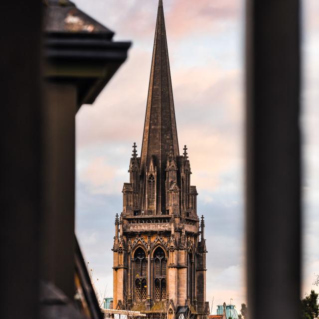 """""""The Catholic Church during sunset, Cambridge UK."""" stock image"""