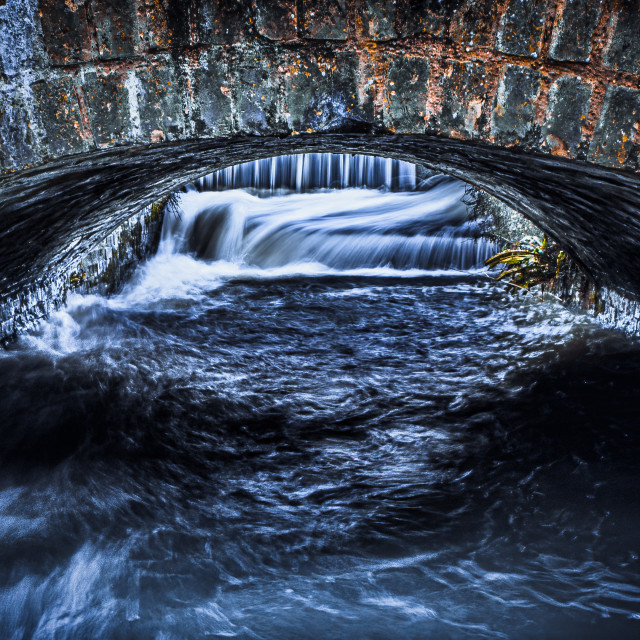 """""""Waterfall from The River Cam, Mill Lane, Cambridge UK."""" stock image"""