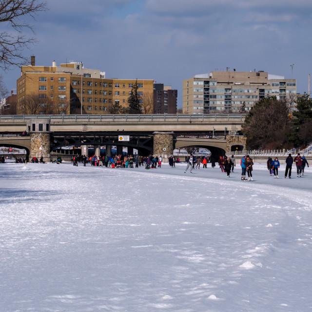 """Rideau Canal Skateway at Pretoria Bridge, Ottawa"" stock image"