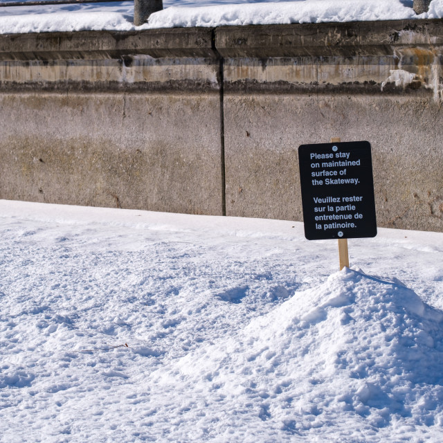 """""""Canal Skateway sign: Stay on maintained surface"""" stock image"""