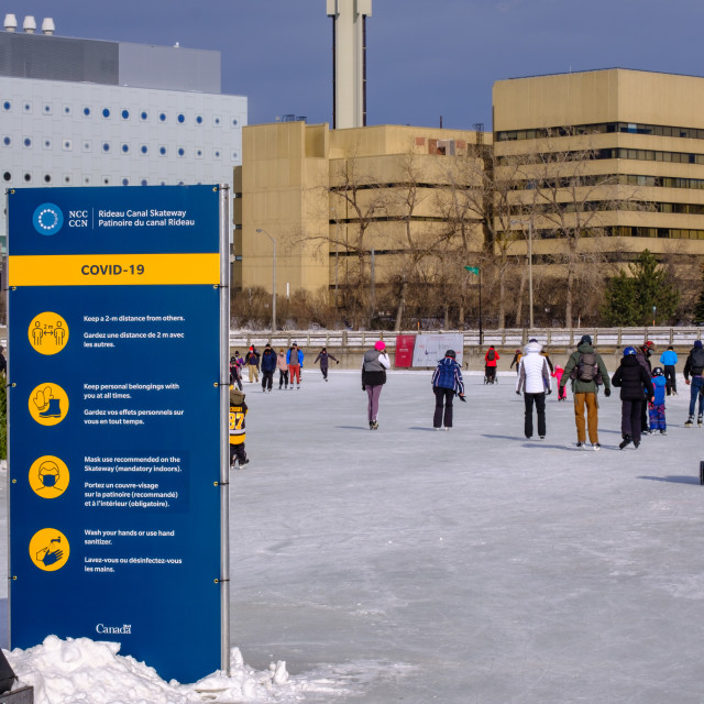 """""""NCC COVID-19 rules sign on Rideau Canal Skateway"""" stock image"""