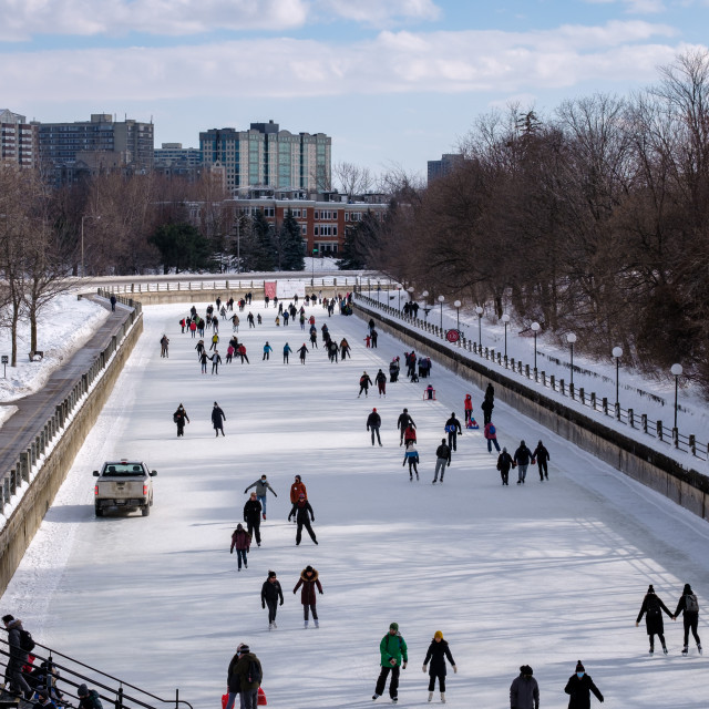 """""""High angle view of ice skating on the Rideau Canal Skateway"""" stock image"""