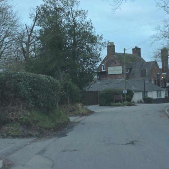 """The Green Man Public House, Middleton, Staffordshire, February 2021"" stock image"