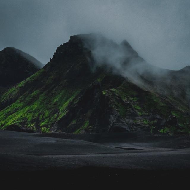 """Moody green mountain"" stock image"