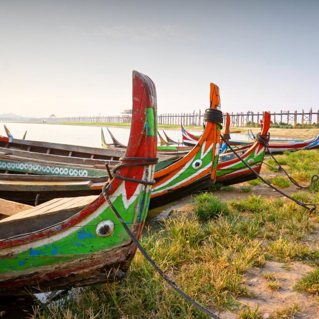"""U Bein Bridge, Myanmar"" stock image"