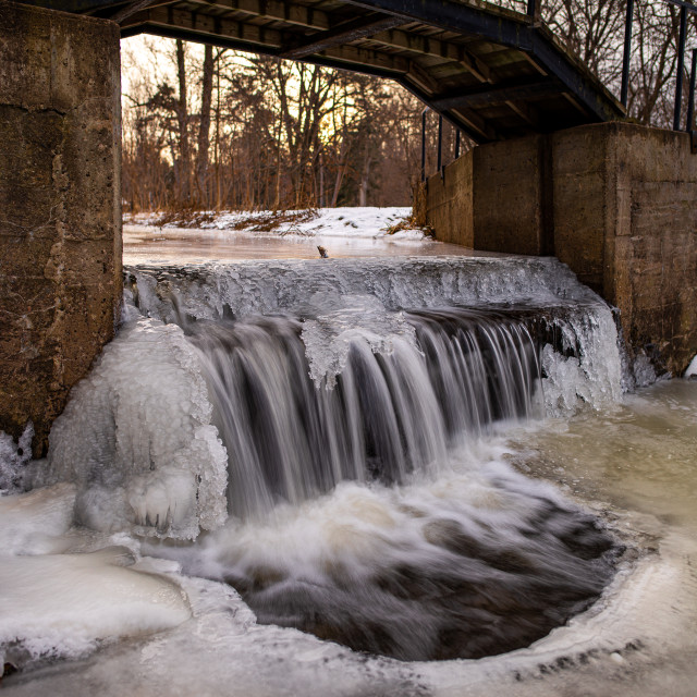 """""""Pansy Patch Park Waterfall - Winter"""" stock image"""