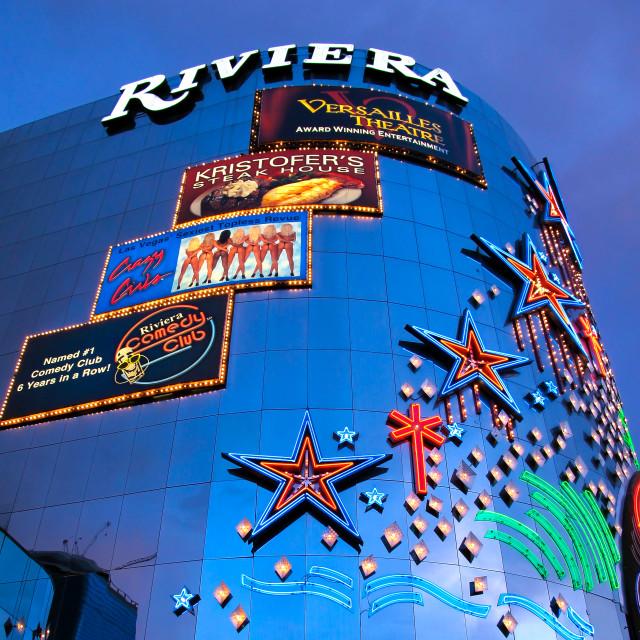 """The Riviera hotel and casino, Las Vegas"" stock image"