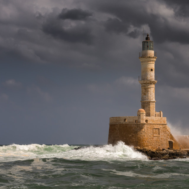 """""""Entrance to Chania Harbour."""" stock image"""
