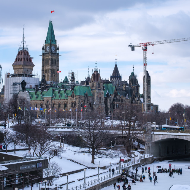 """""""Parliament Hill and Rideau Canal Skateway"""" stock image"""