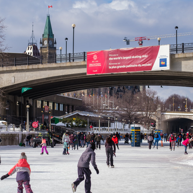 """""""Rideau Canal: The world's longest skating rink"""" stock image"""
