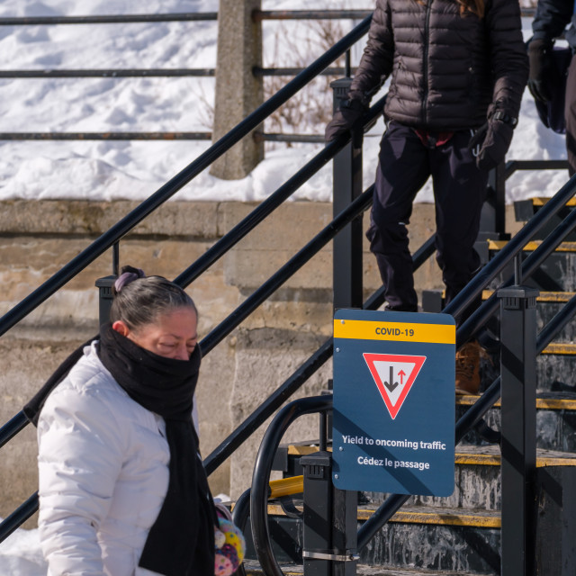 """""""COVID-19 stairway rule at Rideau Canal Skateway"""" stock image"""