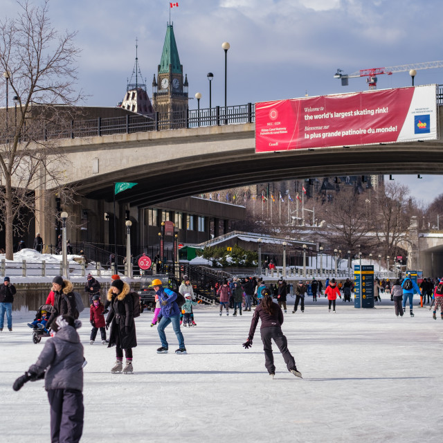 """""""Ice skating on the RIdeau Canal Skateway"""" stock image"""