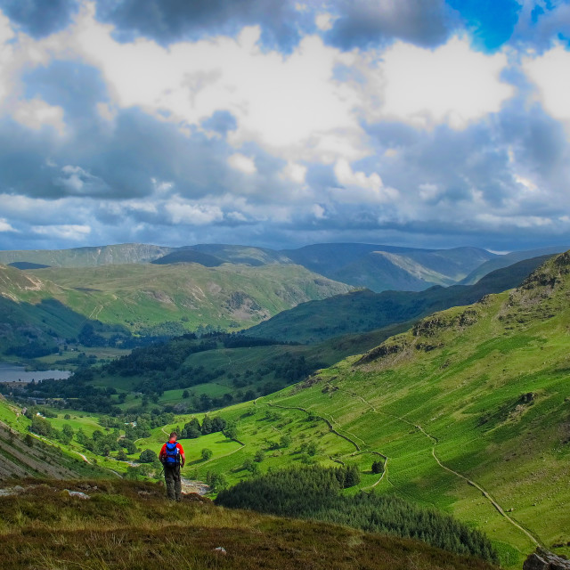 """""""Lake District view down to Derwent Water"""" stock image"""