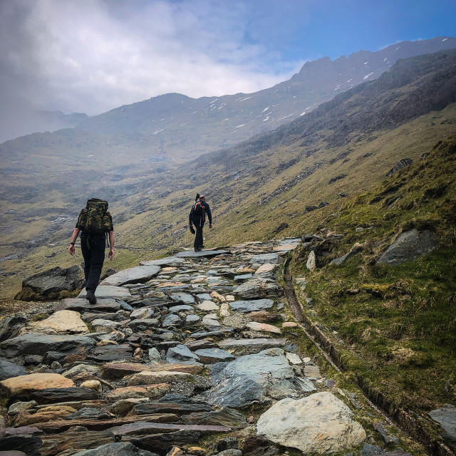 """""""Walkers in the Snowdonia National Park"""" stock image"""
