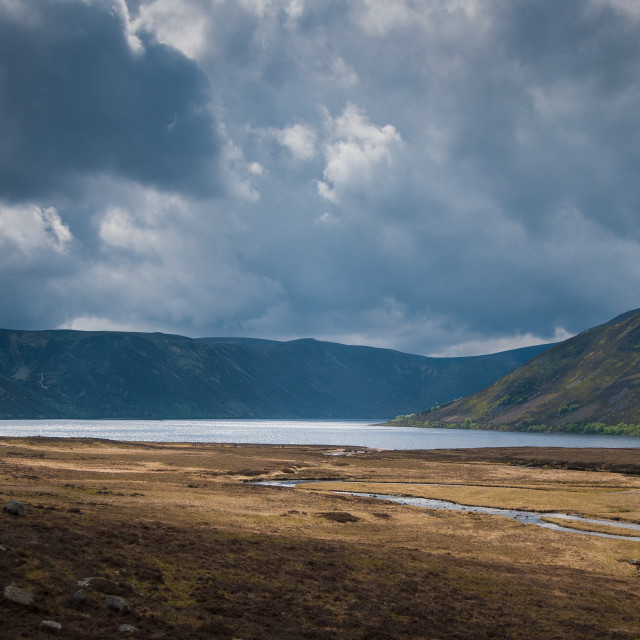 """""""Loch Muick, Aberdeenshire in the Cairngorms National Park"""" stock image"""