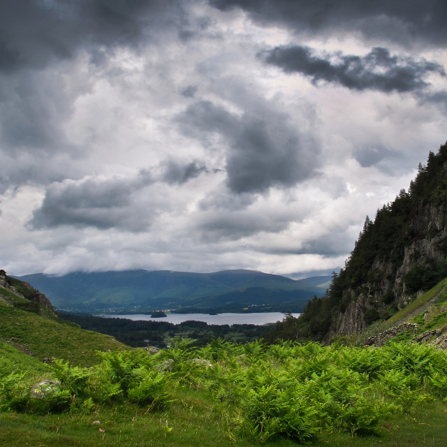 """""""View down to Derwent Water, Lake District"""" stock image"""