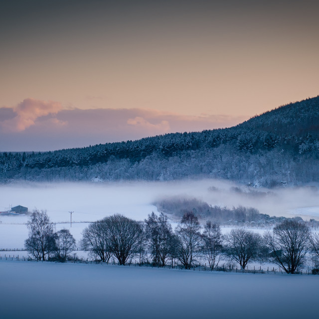 """""""Speyside mist over the river Spey, Rothes"""" stock image"""