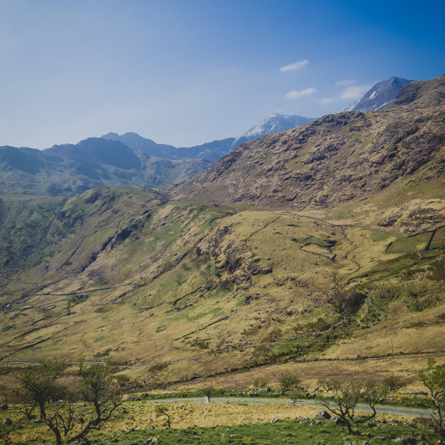 """""""Mount Snowdon sumit in the distance"""" stock image"""
