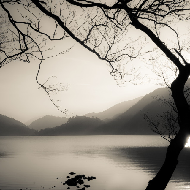 """Llyn Gwynant lake, Snowdonia, Wales"" stock image"
