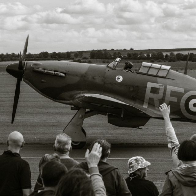 """Hurricane Fighter Plane at Duxford Air Show"" stock image"