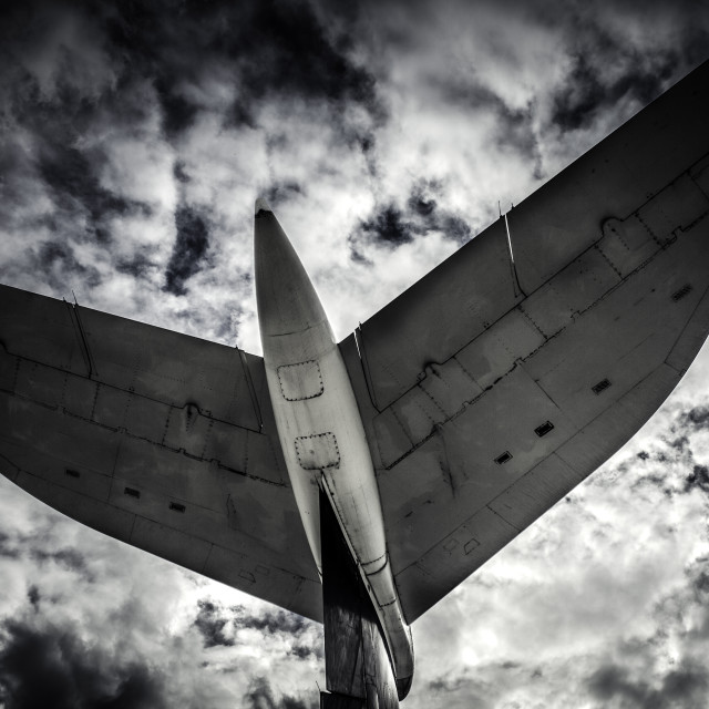 """Tail of airliner at Duxford"" stock image"