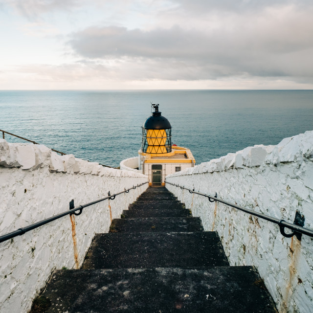 """""""The Descent to St Abb's Head Lighthouse"""" stock image"""