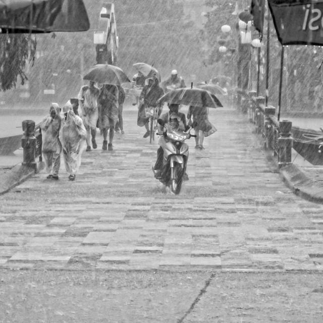 """Heavy rain in Hoi An"" stock image"