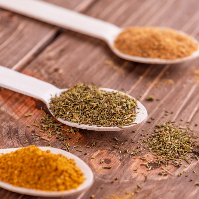"""""""Set spices in measuring spoon. Cooking and seasoning for taste."""" stock image"""