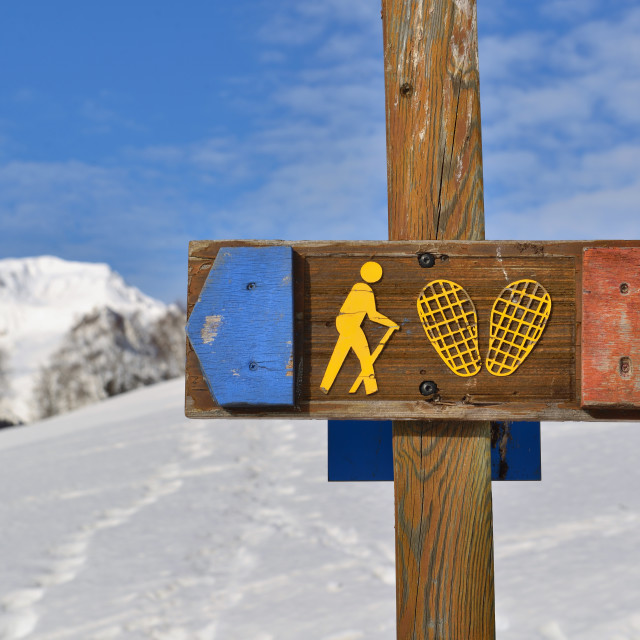 """""""sign of snowshoeing course on a snowy mountain background"""" stock image"""