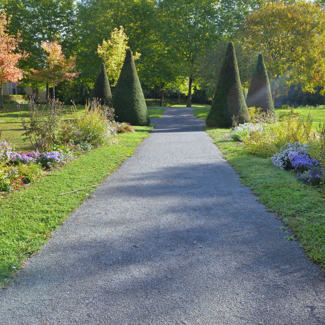 """""""footpath in gravel crossing a beautiful public park landscaped"""" stock image"""